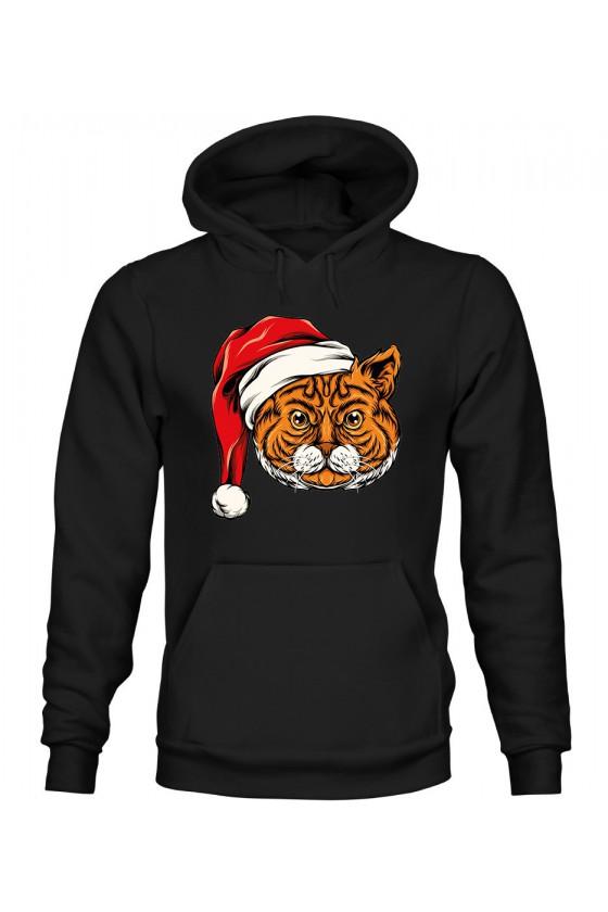 Bluza Męska z Kapturem Świąteczny Kot II