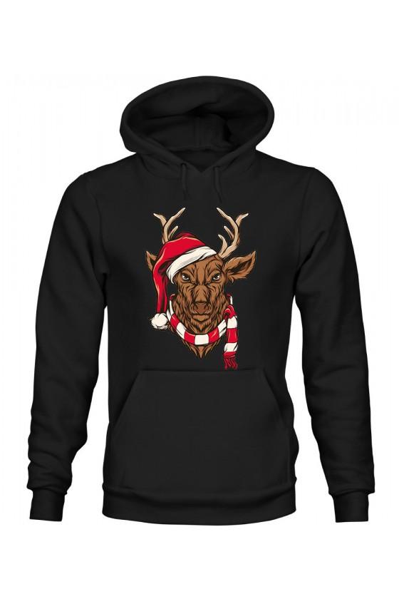 Bluza Męska z Kapturem Świąteczny Jeleń