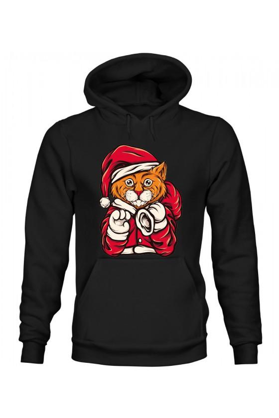 Bluza Damska z Kapturem Świąteczny Kot