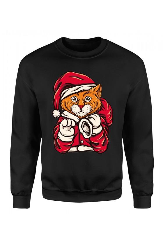 Bluza Męska Klasyczna Świąteczny Kot