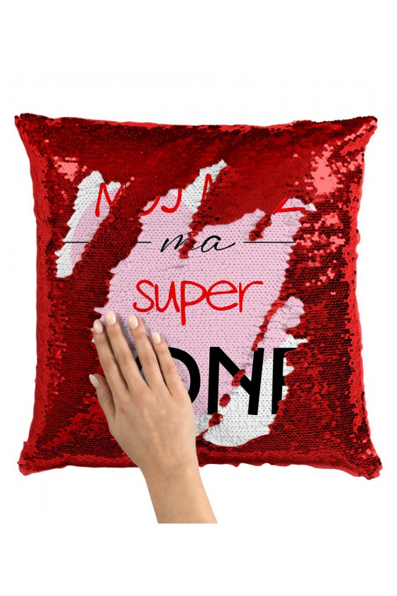 Poduszka z Cekinami Mój Mąż Ma Super Żonę