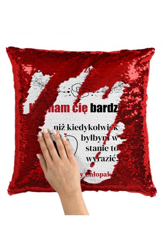 Poduszka z Cekinami Dla Mojej Dziewczyny, Kocham Cię Bardziej